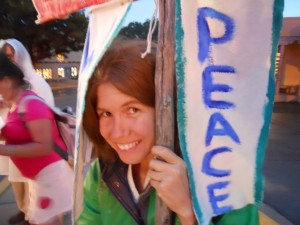 Love-In-Action co-founder Rivera Sun, at a No War In Syria demonstration 2013