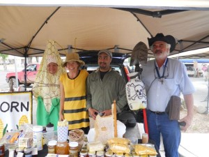 Love-In-Action members thank Taos Honey producers for their great work at March Against Monsanto in Taos, NM Spring 2014
