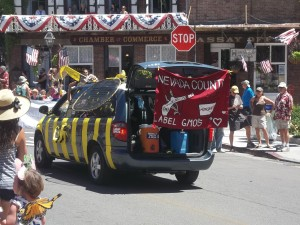 Label GMOs took on a bee-van spin in the Nevada County 4th of July Parade. Beautiful work!