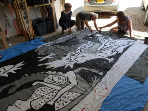 """Gaza = Guernica"" - a 7 x 15 ft adaptation of Picasso's famous painting being prepared for the Aug 9th demonstration for Palestine."